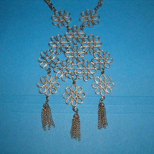 Vintage Drop Necklace Flower Design with Tassels
